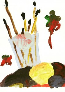 Натюрморт. Кисти и фрукты