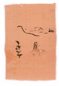 Японский пейзаж на шелке
